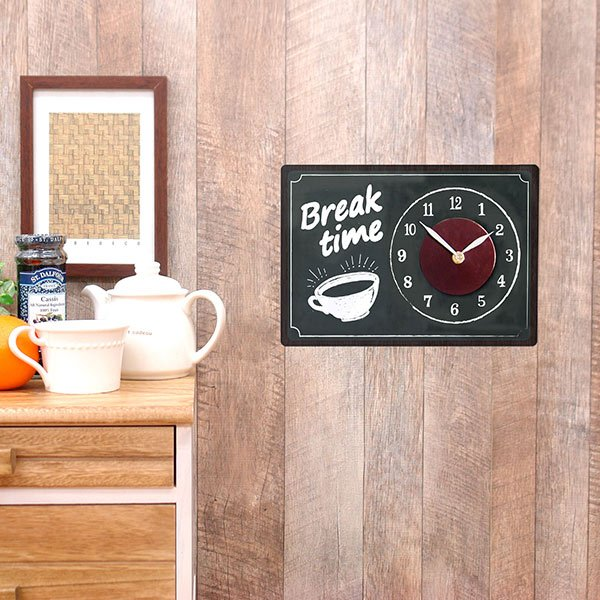 掛け時計 ウォールクロック ステッカー カフェ CHALK BOARD インテリア シールクロック 1 壁掛け時計 再再販 ウォールステッカー 直営店 時計