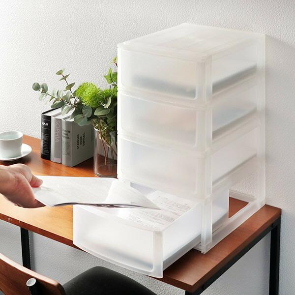 収納ケース 引き出し 安い 激安 プチプラ 高品質 幅26.5×奥行34.5×高さ50.5cm A4 4段 収納ボックス 小物 収納 ファイルケース プラスチック 日本製 お買い得品 A4クリアファイル