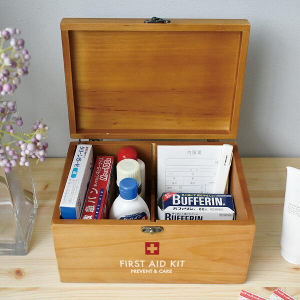 薬箱 PREVENT ファーストエイドボックス 新品■送料無料■ 薬ケース 救急ボックス 医療ボックス 薬入れ 木製 即納送料無料