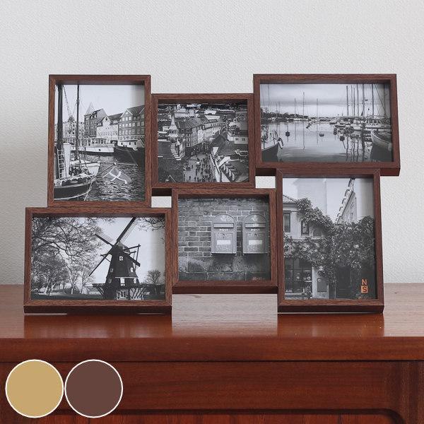 フォトフレーム 期間限定特別価格 安心の定価販売 6枚 多面 壁掛け 卓上 写真フレーム 写真立て 写真たて フォトスタンド 6面