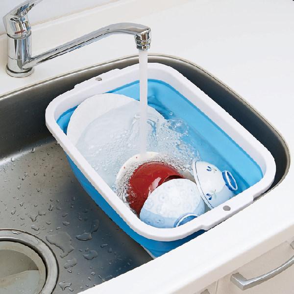 ランドリーバケツ お金を節約 薄く畳める洗い桶 バケツ 洗濯バケツ 折りたたみ 桶 四角 つけ置き 国産品 マスク洗い