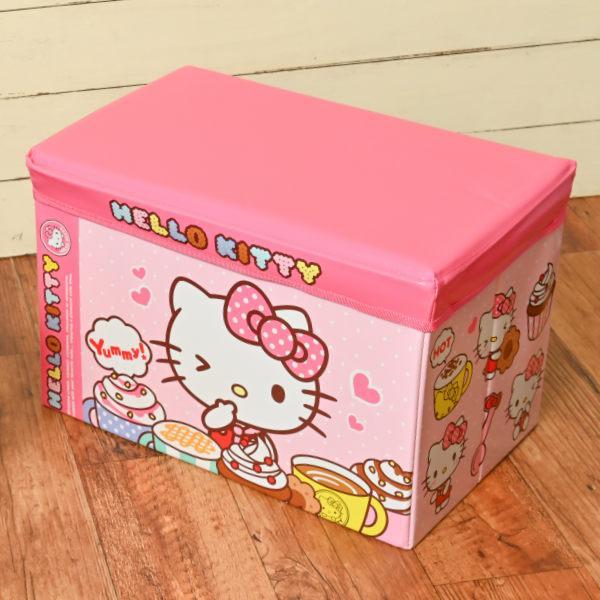 おもちゃ箱 収納ボックス 幅48×奥行30×高さ30cm ハローキティ 座れる 収納ケース 値引き イス ショップ ボックス 収納 フタ付き ケース