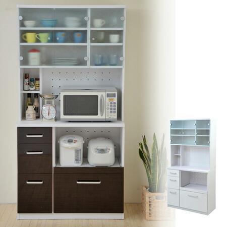 ■在庫限り・入荷なし■食器棚 レンジ台 モダンキッチン 幅90cm ( キッチン収納 カップボード つっぱり )
