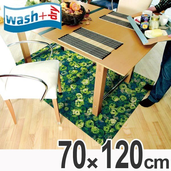 玄関マット 屋内屋外兼用 wash+dry ウォッシュアンドドライ Punilla 緑 70×120cm ( エントランスマット 泥落としマット 洗える )