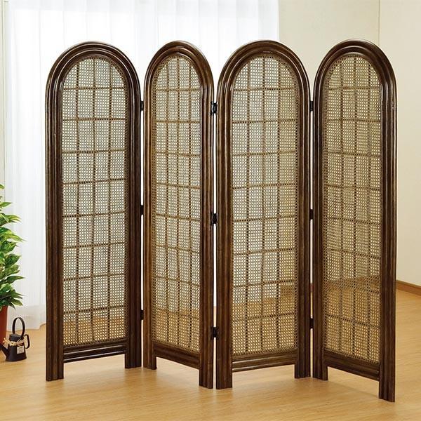 衝立 4連 ラタン パーテーション 籐家具 高さ160cm ( ラタン 衝立 )