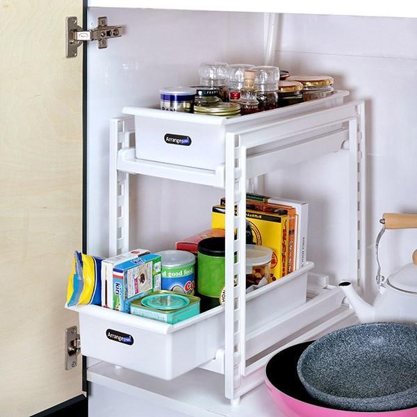 シンク下収納 浅型 2段 スライドストッカー キッチン収納 本店 日本限定 収納ストッカー アレンジフリー