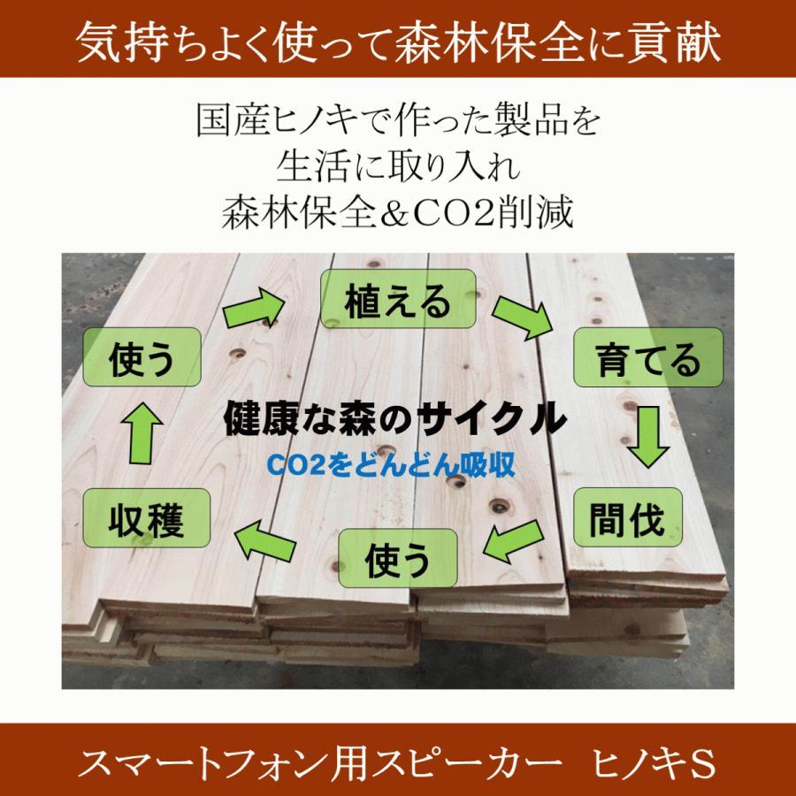 スマホスピーカー 木製 ヒノキ 桧 シングル 置くだけ スマホスタンド 卓上 おしゃれ 高級 プレゼント 2カラー 国産 日本製|lizumointl|07