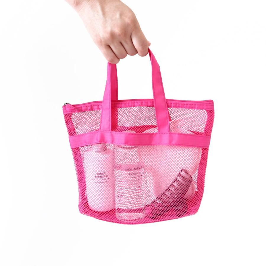 スパバッグ 全2色 通気性抜群!温泉やプールでかさばる小物をまとめて収納 ファスナー付き メッシュポーチ バッグインバッグ 温泉 プール 海 ジム 旅行 収納 logic-products 02