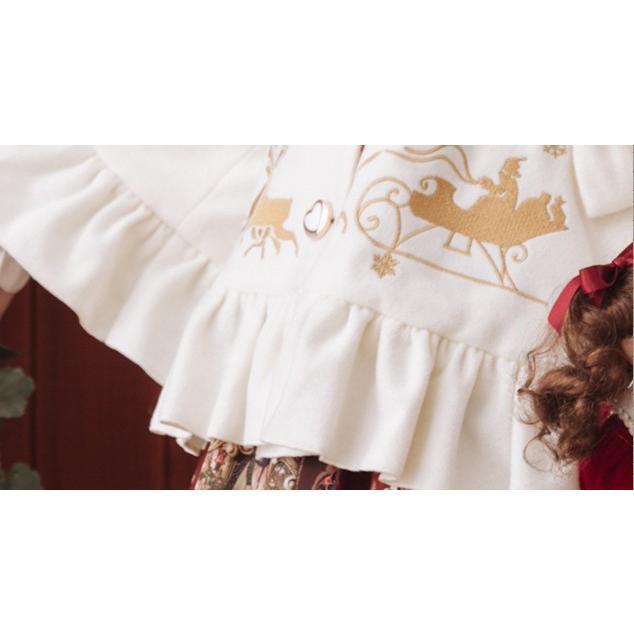 ロリータファッション 姫袖トナカイ柄コート コートのみ ショート丈 甘ロリ クラロリ 姫ロリ フリル ロリータ 0663|loliloli|09
