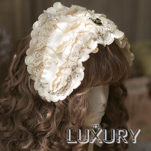 ロリータ SweetDreamer Vintage 生成色 レースヘッドドレス ヘッドドレスのみ 甘ロリ 姫ロリ フリル リボン loliloli