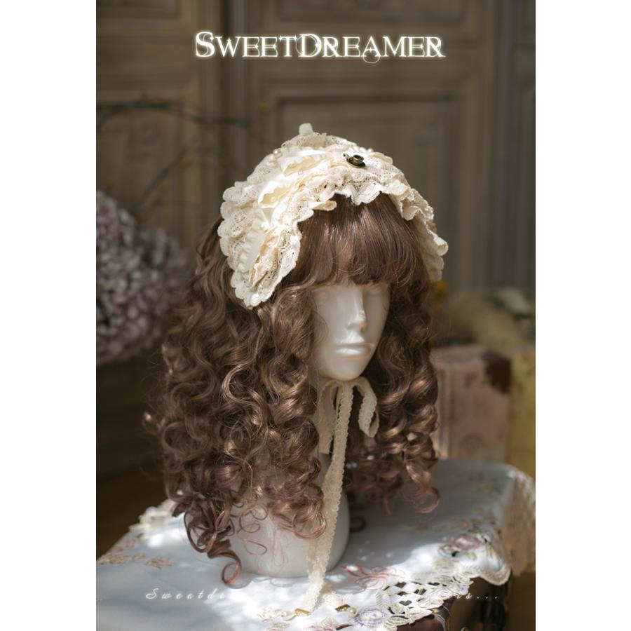 ロリータ SweetDreamer Vintage 生成色 レースヘッドドレス ヘッドドレスのみ 甘ロリ 姫ロリ フリル リボン loliloli 02