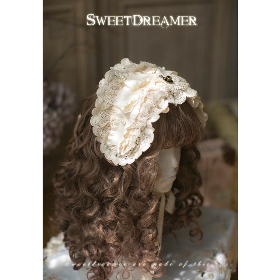 ロリータ SweetDreamer Vintage 生成色 レースヘッドドレス ヘッドドレスのみ 甘ロリ 姫ロリ フリル リボン loliloli 03