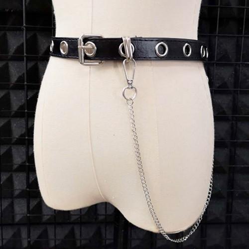 ゴスロリ チェーン付き ベルト シンプル ロック カジュアル 小物 ベルト 細い ハード ブラック loliloli