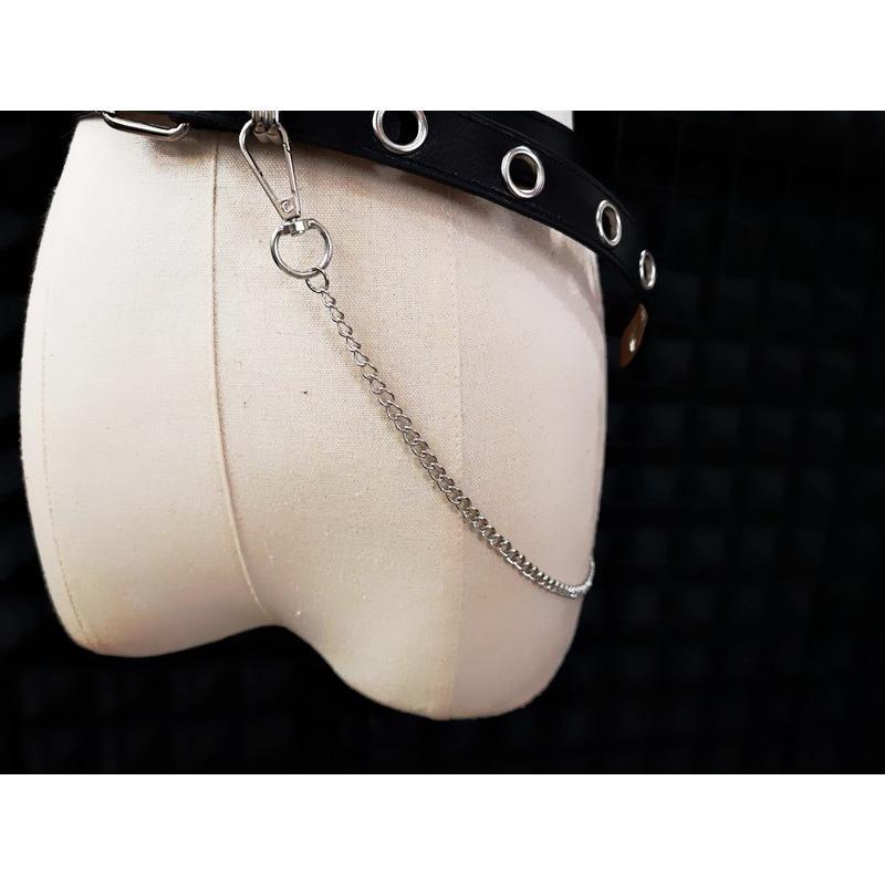 ゴスロリ チェーン付き ベルト シンプル ロック カジュアル 小物 ベルト 細い ハード ブラック loliloli 03