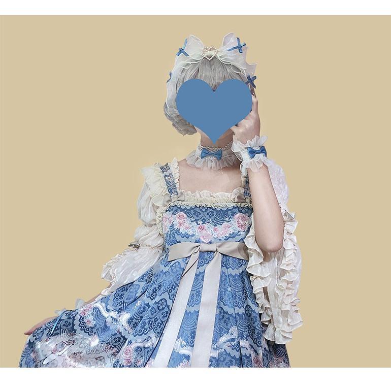 ロリータ 揺りかごの歌 ブルーチョーカー レース リボン 透け感 ヘッドドレス アクセサリー 甘ロリ メイド 姫ロリ loli1789 loliloli 02
