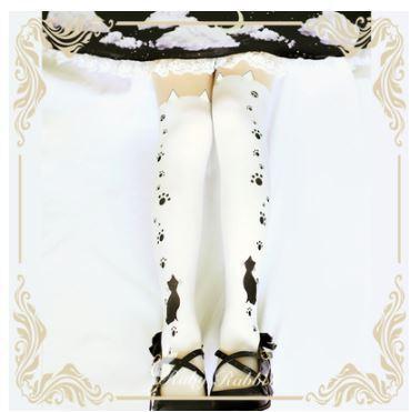 ロリータファッション ゴスロリファッション ゴスロリ カジュアルロリータ タイツ ソックス 2色 バイカラー 猫 ネコ ねこ cat 肉球 猫耳 ネ 【ポスト投函対応】|loliloli
