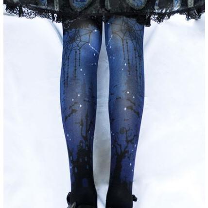 ロリータワンピース ロリータドレス ロリータファッション ゴスロリファッション ゴスロリ ゴシック タイツ 3色 プリント ゴシック かわいい 【ポスト投函対応】|loliloli|05