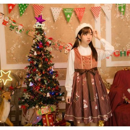 ロリータ ジャンパースカート ジャンスカ JSK カジュアル クリスマス 秋冬 ミディアム プリーツ フレア かわいい サンタ トナカイ ソリ テディベア くま かわい loliloli