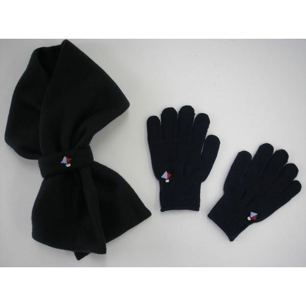 こどもフリースマフラー&手袋 キッズフリースマフラー&手袋(ヨット手刺繍)【セット商品】