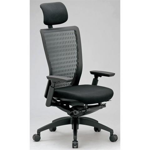 エルゴノミクスチェア メッシュ ハイバック ヘッドレスト 可動肘付 可動肘付 キャスター付 布張り 回転イス エグゼクティブチェア 事務用椅子 R-5655 送料無料