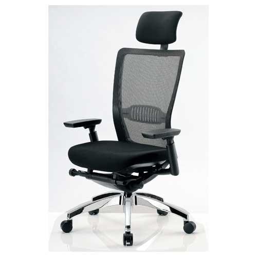 エルゴノミクスチェア ハイバック ヘッドレスト 可動肘付 キャスター付 布張り メッシュチェア エグゼクティブチェア 事務用椅子 R-5775 送料無料