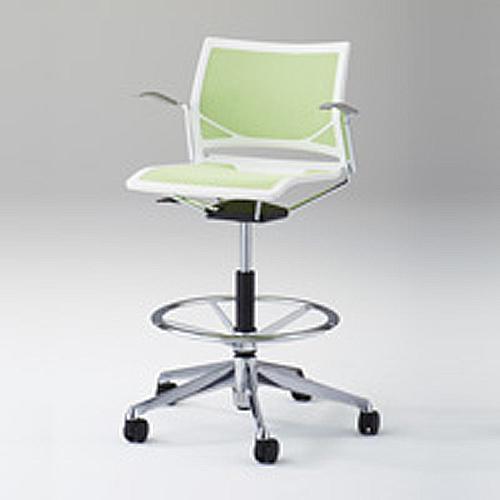 ミーティングチェア 肘付き 肘付き キャスター付き 送料無料 カラフル シンプル 椅子 イス 布製 ファブリック オフィスチェア ハイチェア 回転 昇降式 81R1GA-F
