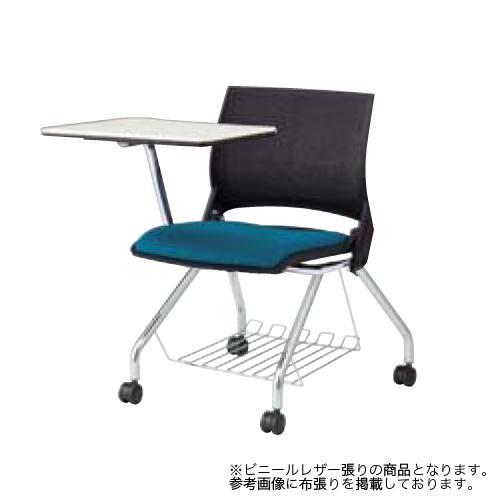 スタッキングチェア キャスター付き 送料無料 メモ台付き タブレット付き 棚付き 荷物置き テーブル付き テーブル付き オフィスチェア ミーティングチェア 9317UE-PB