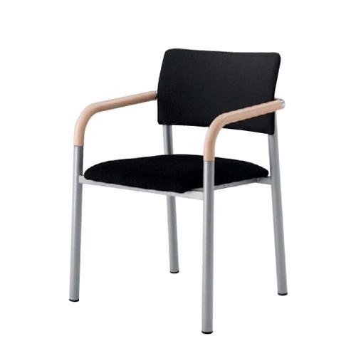 スタッキングチェア 肘付き 送料無料 ナチュラルビーチ色 肘置き付き ミーティンチェア オフィスチェア 会議チェア オフィス家具 チェア チェア 椅子 L642AY-FFW