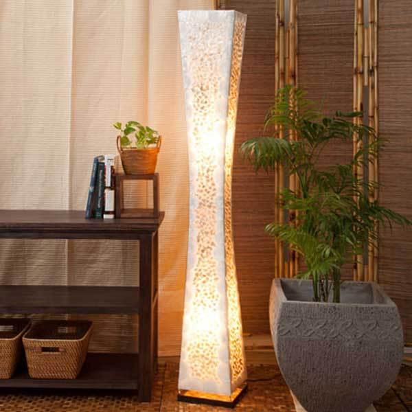 フロアライト アジアン カピスシェル 貝殻 おしゃれ 2灯式 LED電球対応 バリ リゾート インテリア モダン スタンドライト フロアランプ 照明器具