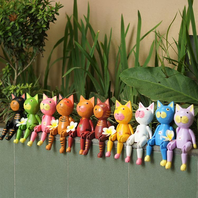 絶品 ぶらぶらウッドオブジェ バリネコ 猫 ねこ ネコ 人形 木彫り オブジェ 置物 玄関 プレゼント ギフト ご予約品 リビング カラフル 引っ越し祝い