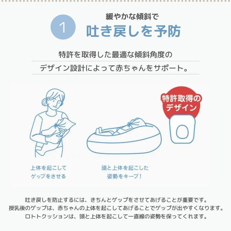 ロトトクッション 赤ちゃん 枕 吐き戻し防止 吐き戻し 吐き戻し防止枕 おすすめ クッション 出産祝い ベビー枕 カバー 洗える 新生児 Cカーブ 背中スイッチ|love-lope|04