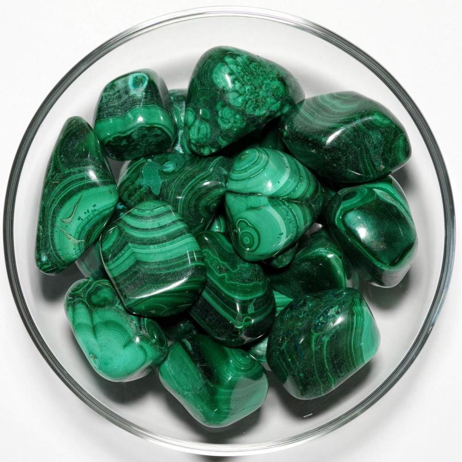 【N2 stone Natural】天然鉱物 マラカイト (孔雀石/malachite) | (原石を研磨した石(タンブル): 3個 [約20-30m
