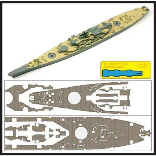インフィニモデル 1/700 IWシリーズ アメリカ海軍 戦艦 ミズーリ用 木製甲板 チーク材色 T社用 エッチングパーツ アンカーチェーン付き プラ