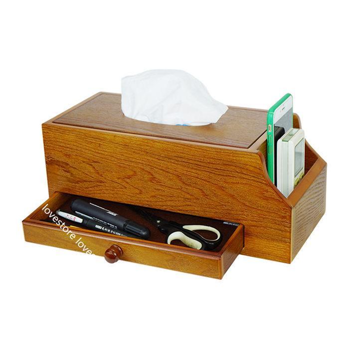 ティッシュケース 木製 卓上収納ケース デスクトップ収納ラック 仕切り リモコンラック 多機能 小物入れ 筆差し 文房具収納ボックス 書斎 lovestore