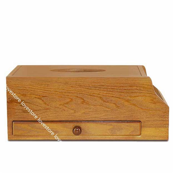 ティッシュケース 木製 卓上収納ケース デスクトップ収納ラック 仕切り リモコンラック 多機能 小物入れ 筆差し 文房具収納ボックス 書斎 lovestore 04