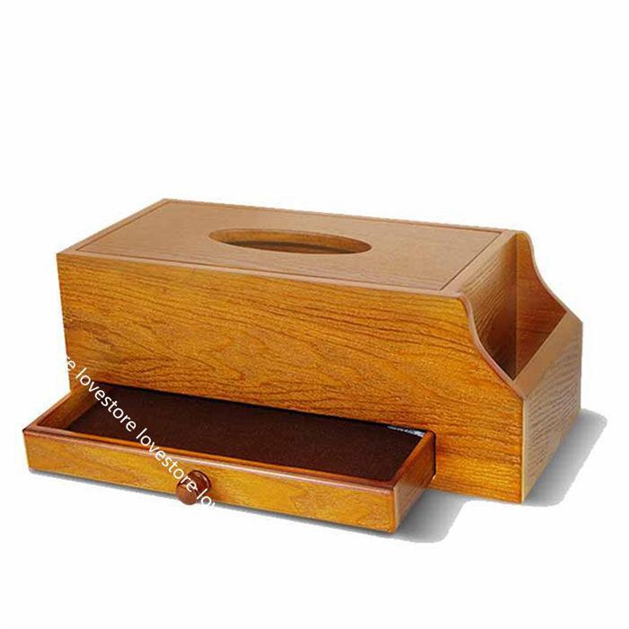 ティッシュケース 木製 卓上収納ケース デスクトップ収納ラック 仕切り リモコンラック 多機能 小物入れ 筆差し 文房具収納ボックス 書斎 lovestore 06