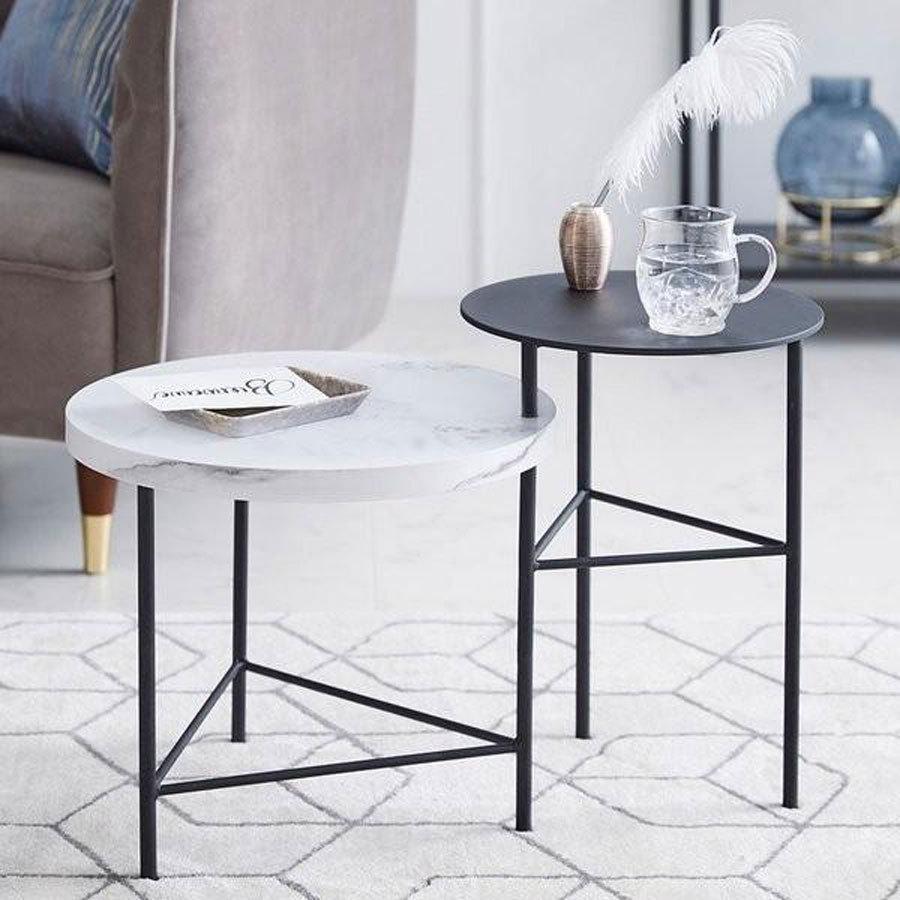 テーブル サイドテーブル おしゃれ 大理石柄 スチール脚 回転式 円 ベッドサイド スリム シンプル ロウヤ 丸 驚きの値段 LOWYA 一部予約 ミニマル