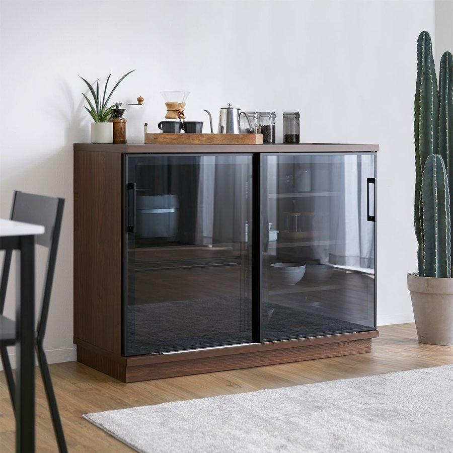 食器棚 引き戸 完成品 大川家具 組み立て不要 幅120 一人暮らし レンジ 炊飯器 店 モイス ガラス ロウヤ キッチン収納 低価格 LOWYA キャビネット 国産 ロータイプ