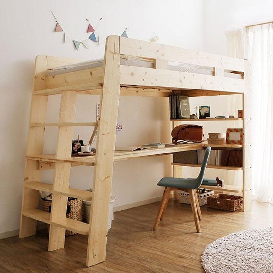ロフトベッド ハイタイプ シングル シングルベッド 海外輸入 木製 システムベッド すのこ 収納ラック 子供 ロウヤ はしご 通販 激安◆ 本棚 おしゃれ 天然木 LOWYA デスク