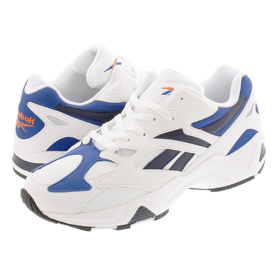 Reebok Aztrek 96 White Royal Fiery Orange Men Running Shoes Sneakers DV6756