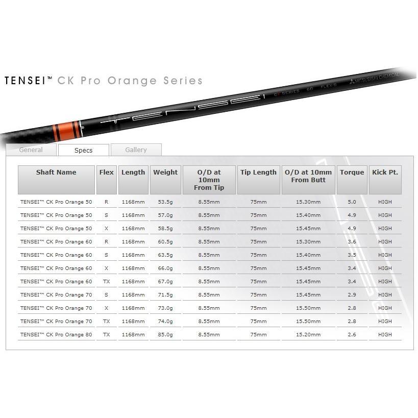 キャロウェイ スリーブ付シャフト 三菱ケミカル TENSEI CK Pro Orange テンセイ オレンジ マーベリック エピック ローグ カスタムシャフト ドライバー用|lpcgolfonline|10