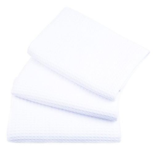SINLAND 吸水 マイクロファイバー 食器 拭き ワッフルタオル ふきん ディッシュクロス(ホワイト 3枚)|lsj-store