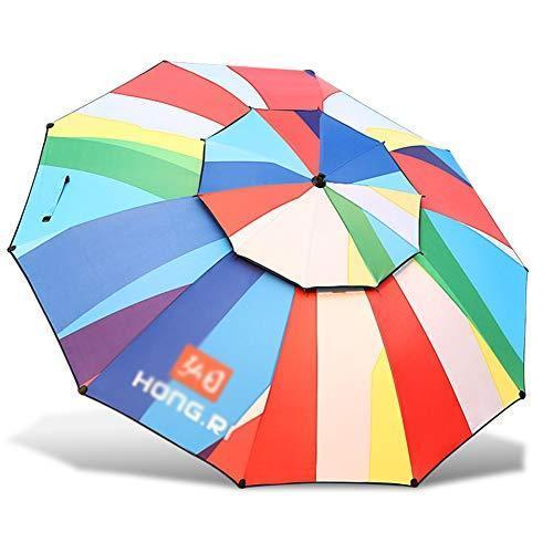 Fishing Umbrella, Vinyl Sun Protection On The Inner Surface, Double-Layer Design, Zero Light Transmission, Universal Rotation, Aviation Alum