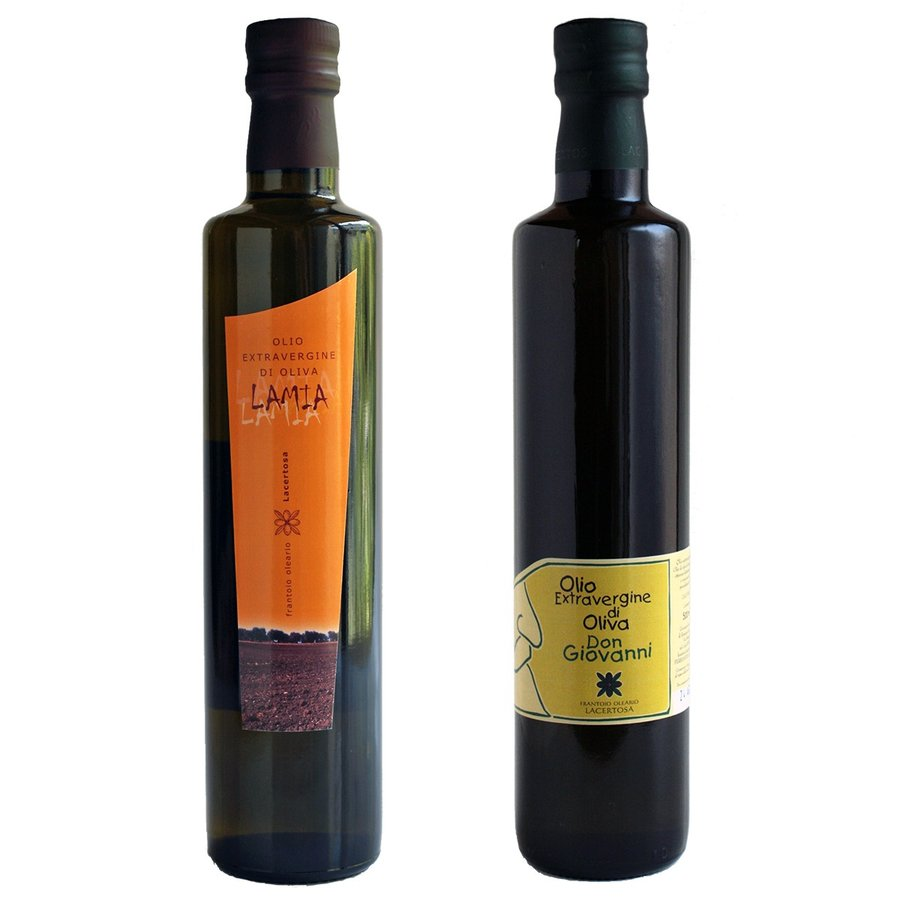 エキストラバージン・オリーブオイル「ドン・ジョヴァンニ」500ml+「ラーミア」セット(ギフト箱入り) lucania-arti