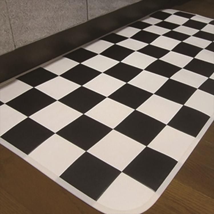 キッチンには拭けるマット/45×120cm/縁付きクッションフロア/チェッカー/日本製/防滑|lucentmart-interior|04