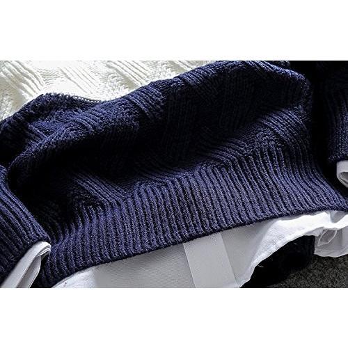 (SGL Collection) セーター メンズ ニットセーター 長袖 デザイン アラン 編み 模様 ラウンドネック スリム フィット カ