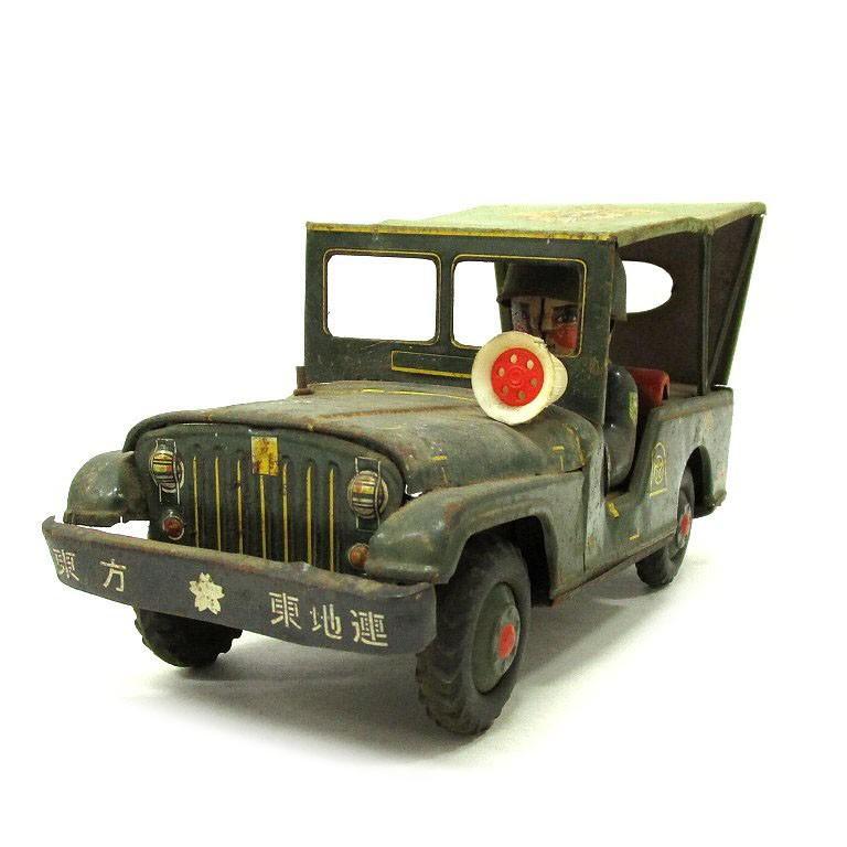 希少 うさぎ屋 ブリキ 当時物 東方 東地連 自衛隊 ジープ 車 ウサギ屋 おもちゃ 玩具 中古