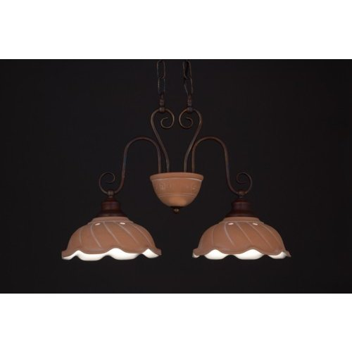 イタリア製/陶器セード 2灯ペンダント テラコッタ TER015-P2-LED