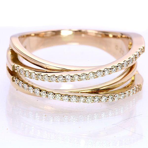 即日発送 ダイヤモンド 0.22カラット K18PG リング/指輪 しっかり感あり 美しいラインの交差 /白・透明(ホワイト)//届5 ギフト プレゼント, 武蔵町 483be963