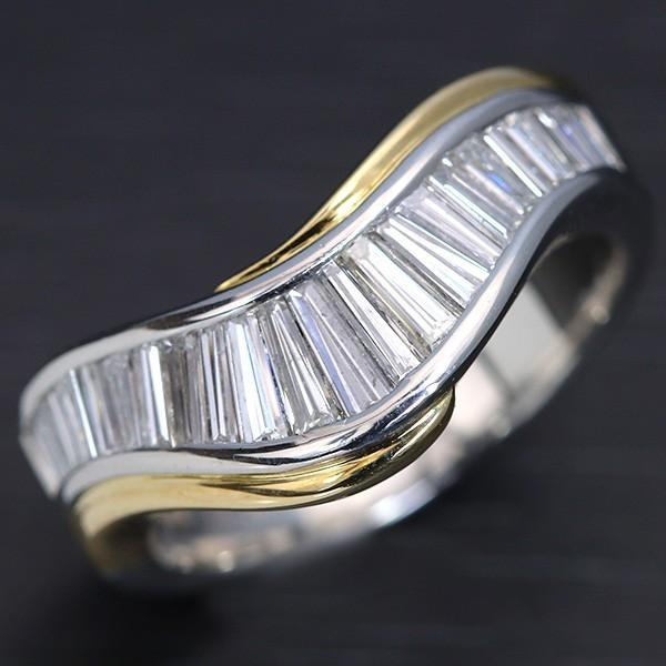 【50%OFF】 ダイヤモンド 1.01カラット リング/指輪 PT900/K18 緩やかなV字ライン 美しい角ダイヤの羅列 /白・透明(ホワイト)//届5/ラックジュエル luckjewel/, WSMウエットスーツマーケット 154de5e9